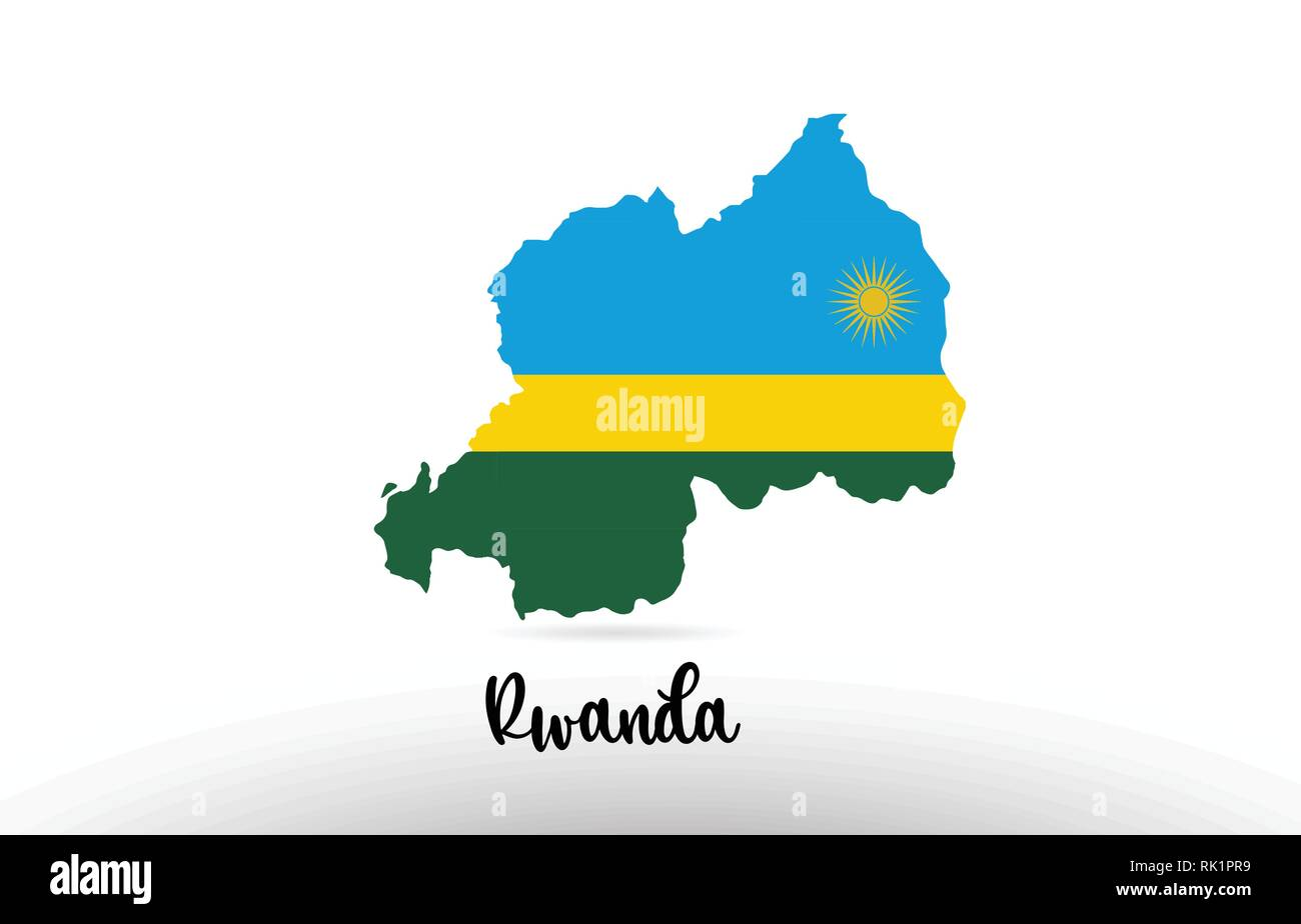 Rwanda country flag inside country border map design suitable for a logo icon design - Stock Vector
