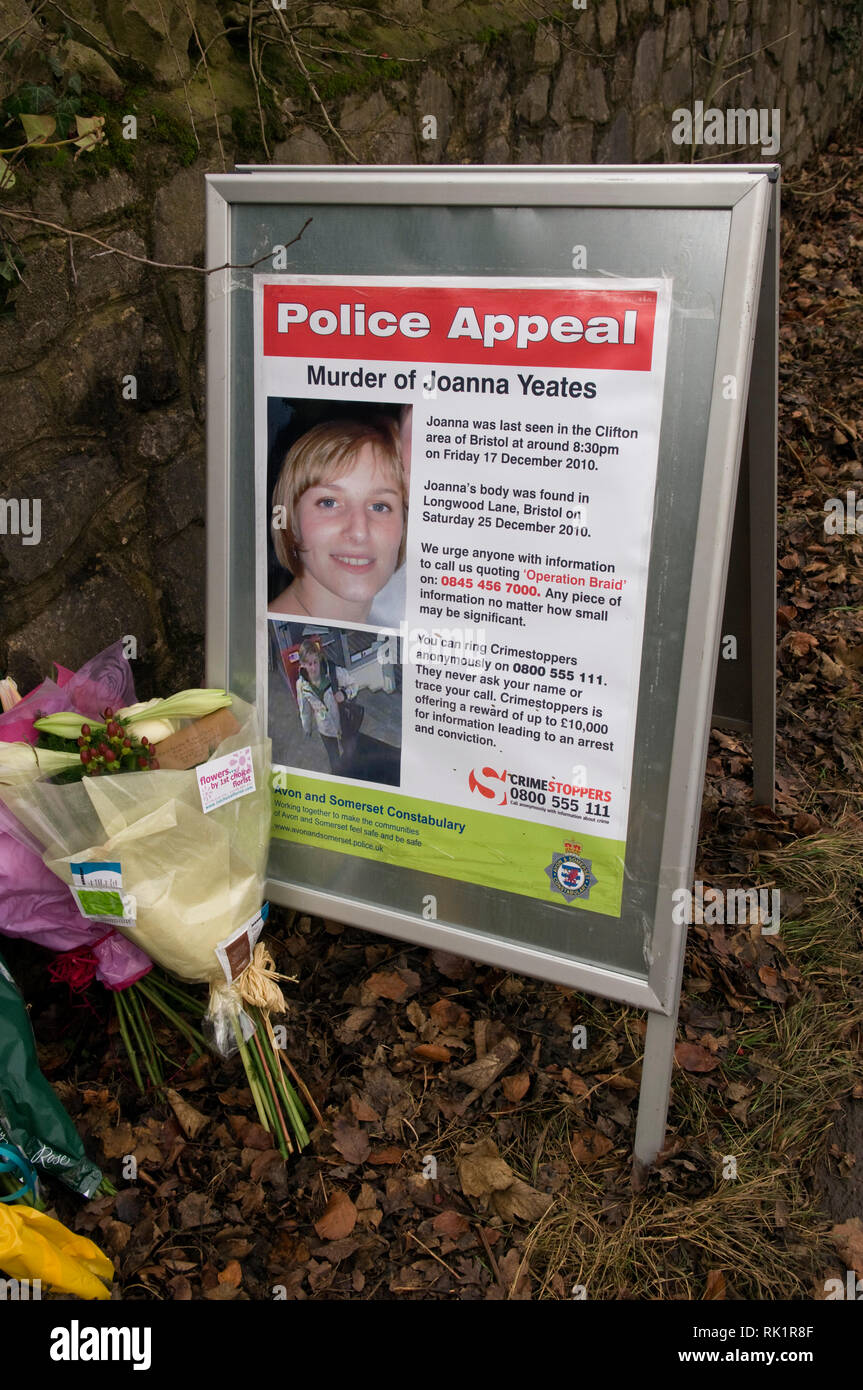Joanna Yeates murder in Clifton, Bristol, UK in 2010.   The site where the body was found, with a photograph left with flowers and an inscription on - Stock Image