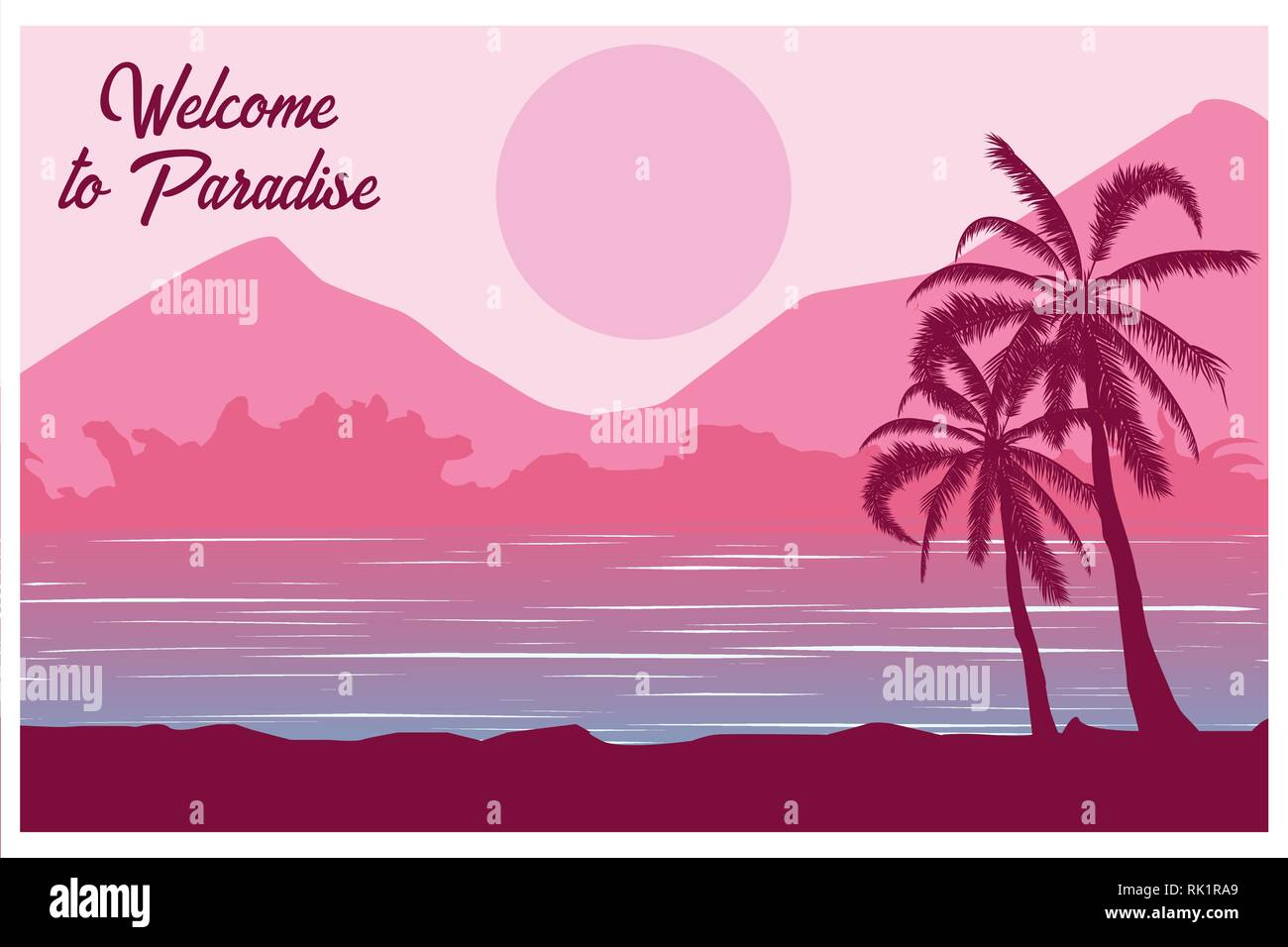 Tropical landscape. Postcard Welcome to paradise Summer background. Palm trees silhouette. Vector illustration. Stock Vector
