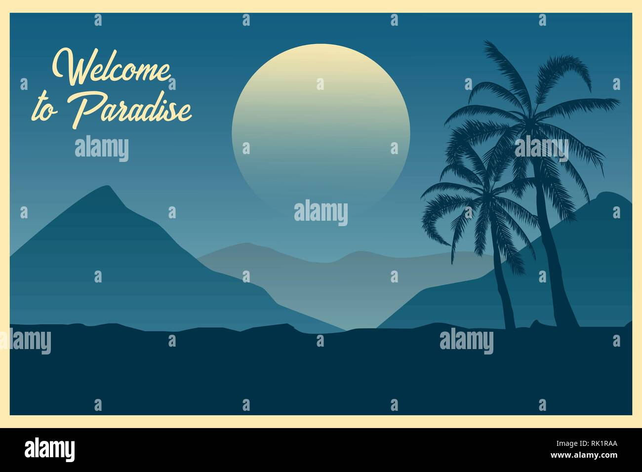 Tropical landscape Postcard Welcome to paradise Summer background. Palm trees silhouette. Vector illustration. Stock Vector