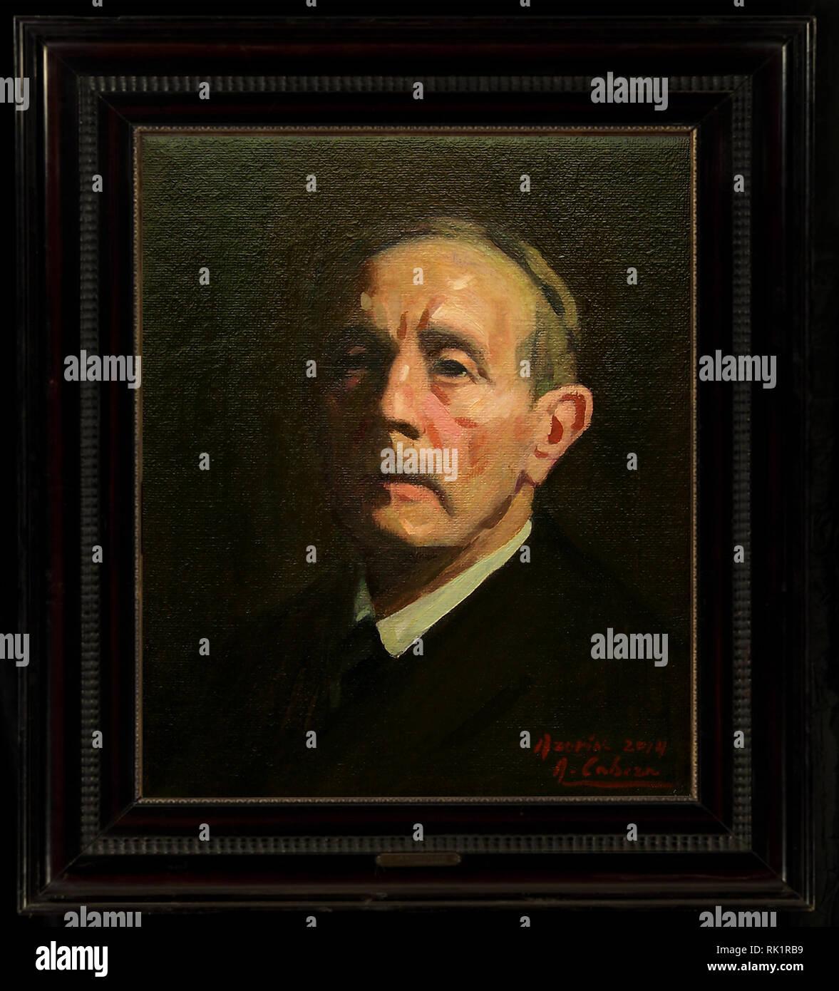 Retrato de Azorín por el artista español Alejandro Cabeza - Stock Image