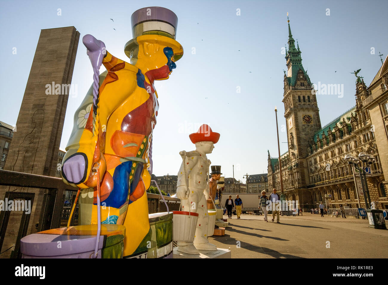 Hamburg, Germany; View of the Rathaus (Town Hall) with statues of the city mascot, Hans Hummel. - Stock Image