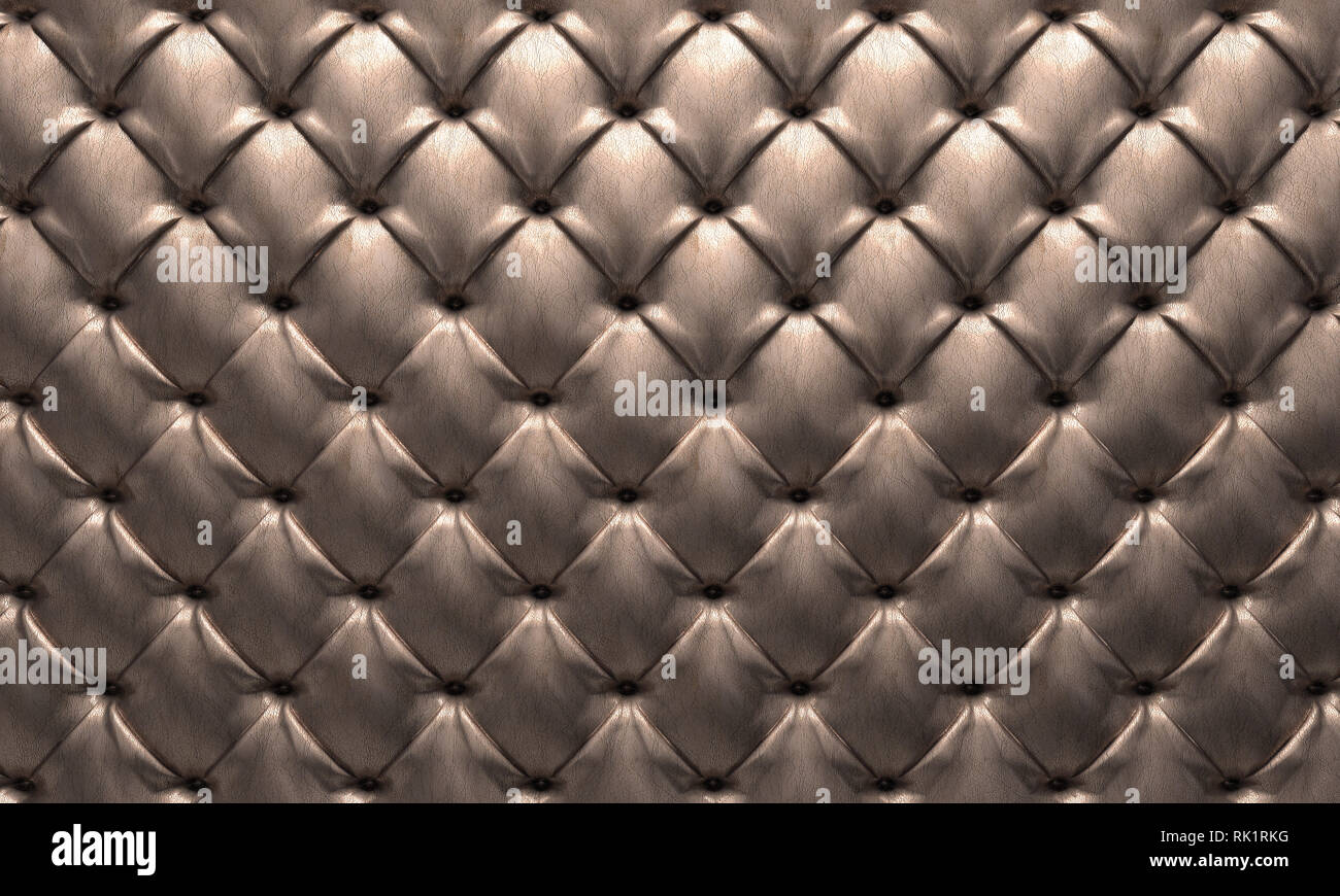 leather tufted background 3d rendering image - Stock Image