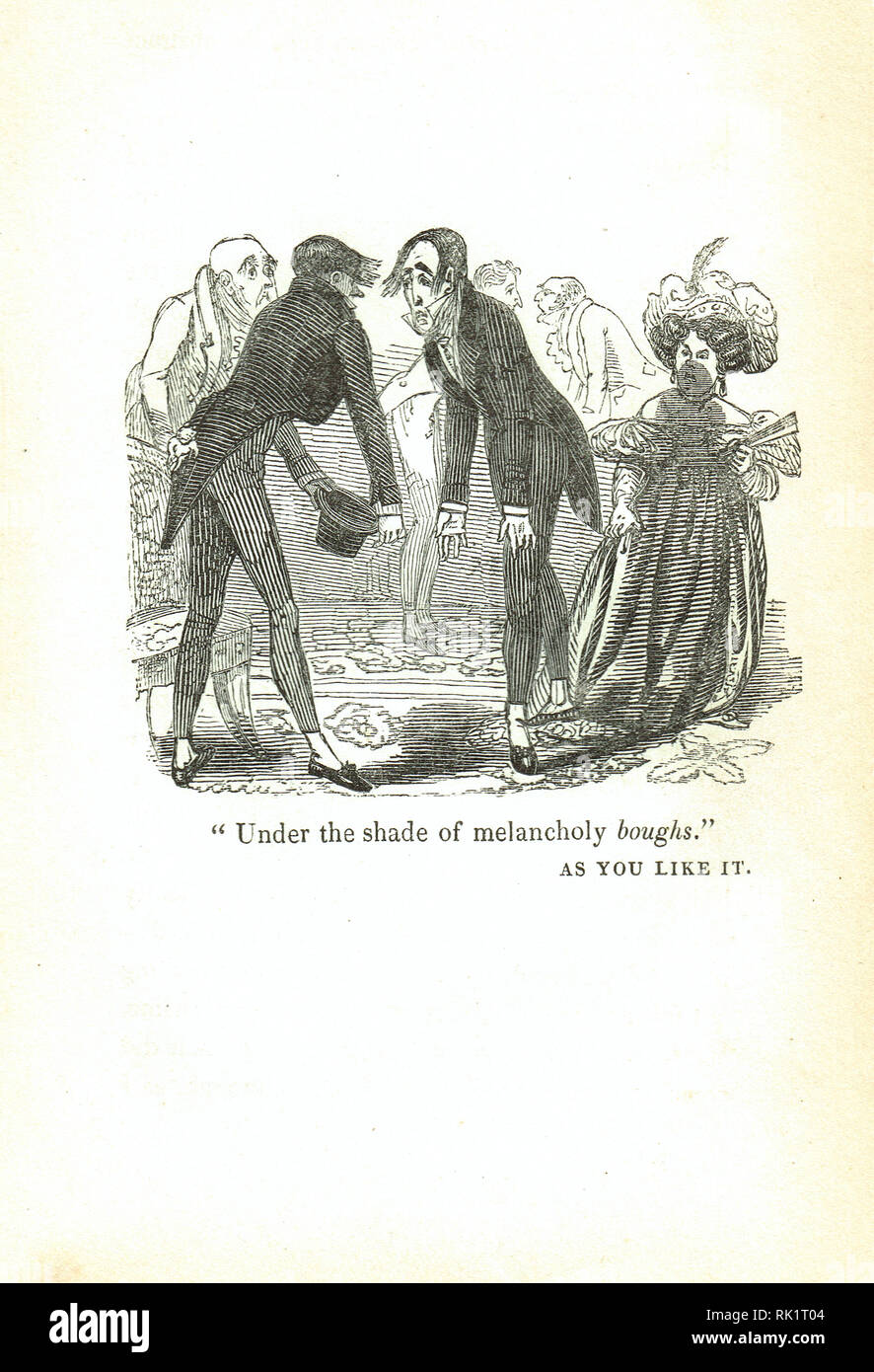 Under the shade of melancholy boughs. Wordplay on bows.   An allusion to the Shakespeare play as you like it. Georgian humour from the Comic offering, or Ladies' melange of literary mirth of 1834 - Stock Image