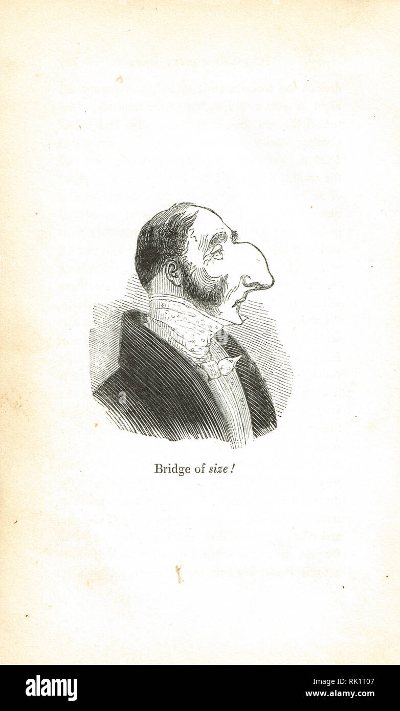 Bridge of size. Man with a large nose, wordplay allusion to the Bridge of Sighs. Georgian humour from the Comic offering, or Ladies' melange of literary mirth of 1834 - Stock Image