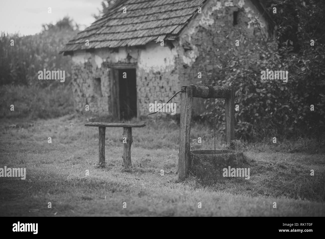 Village with abandoned building - Stock Image