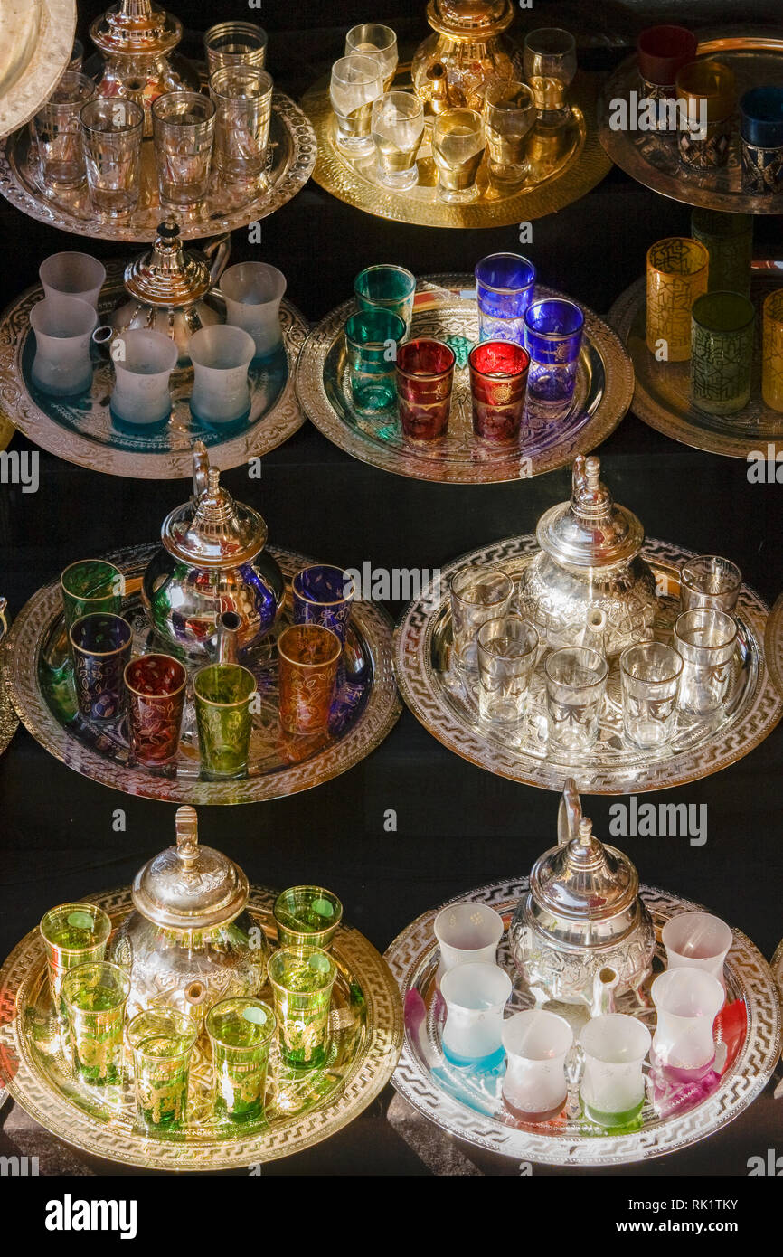 Marrakech, teapots for sale in the medina. - Stock Image