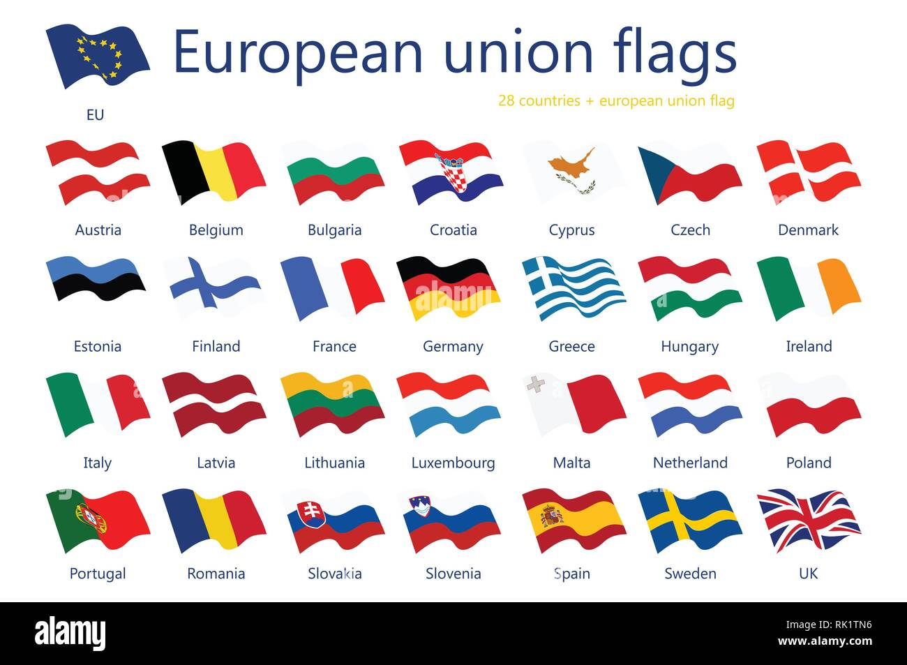 Vector illustration set of european union flags with names. 29 flags+ eu flag. - Stock Image