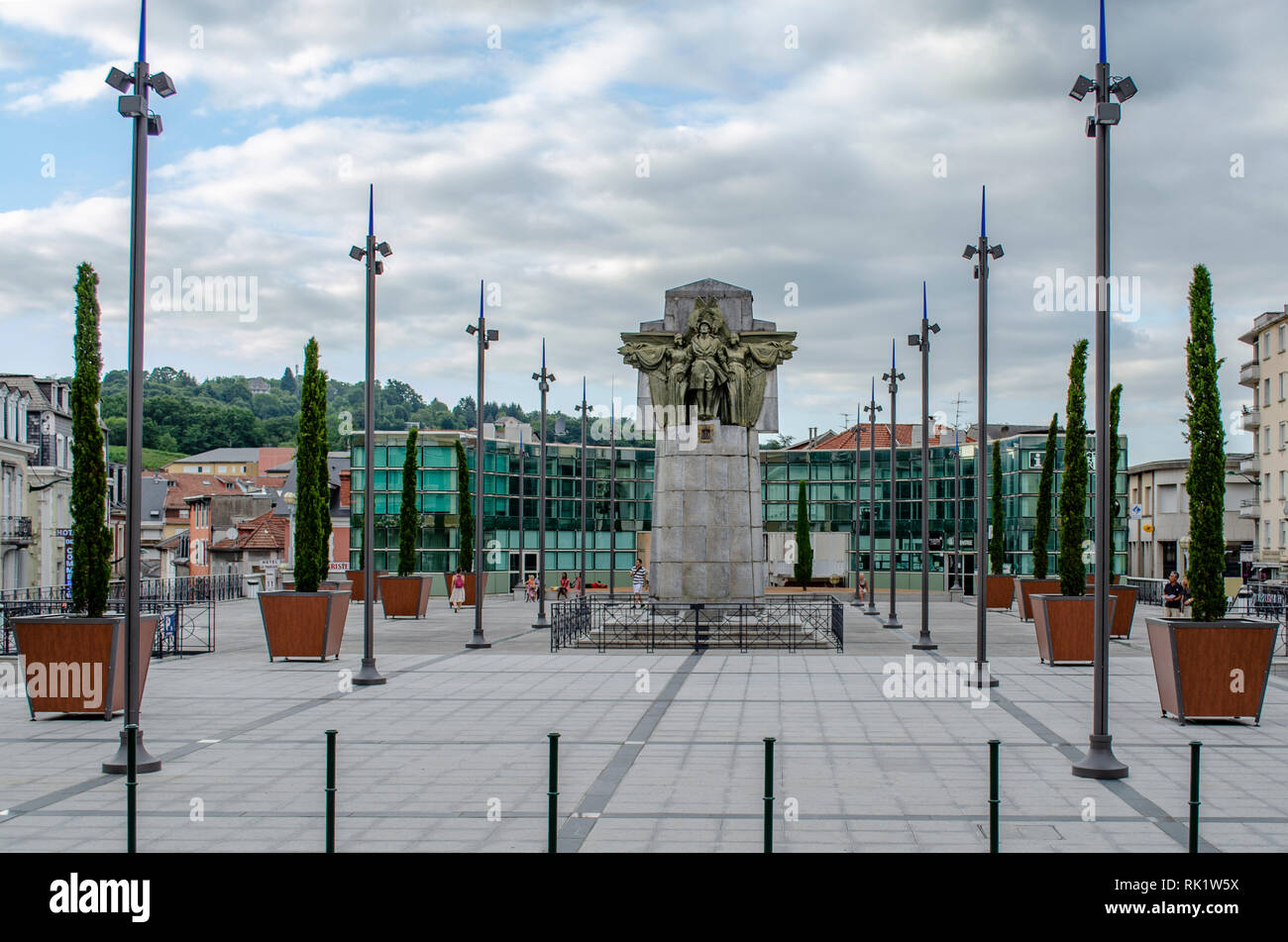 Lourdes, France; August 2013:   Lourdes, France; August 2013: El Monument to the Dead of the Escultor François Mourgues is located in the Peyramale P - Stock Image