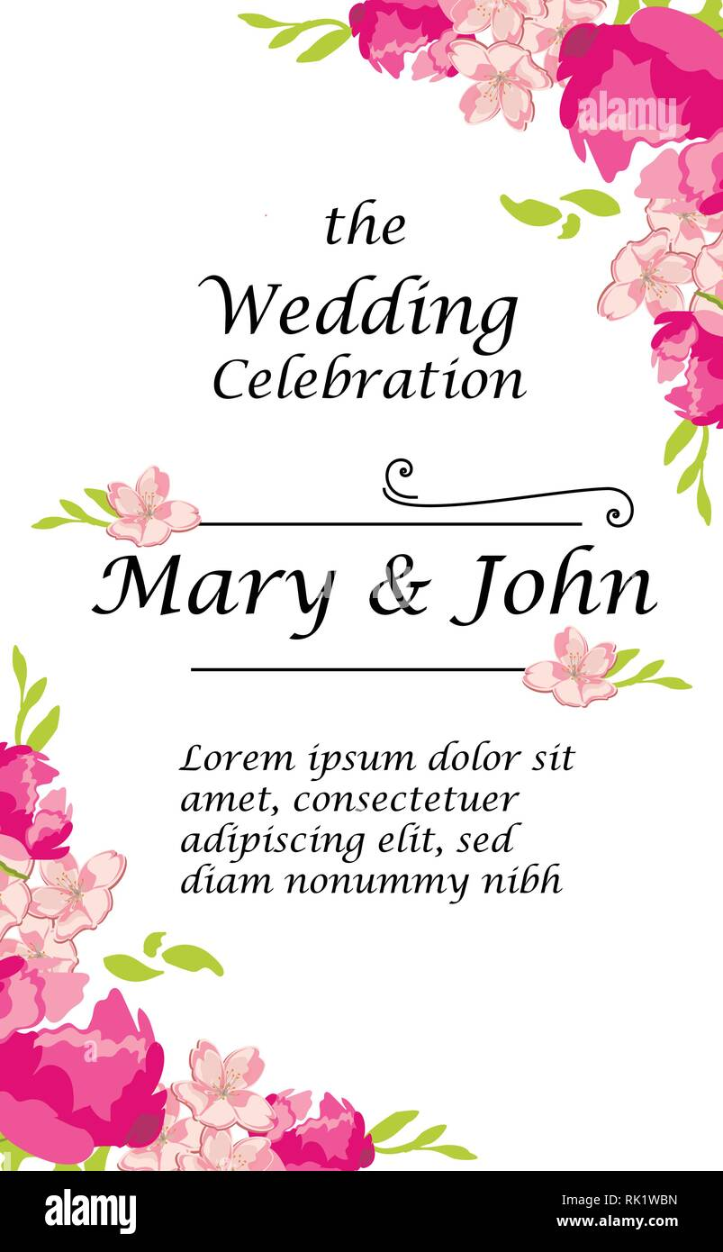 Vector Illustration Wedding Invitation Template Modern Design