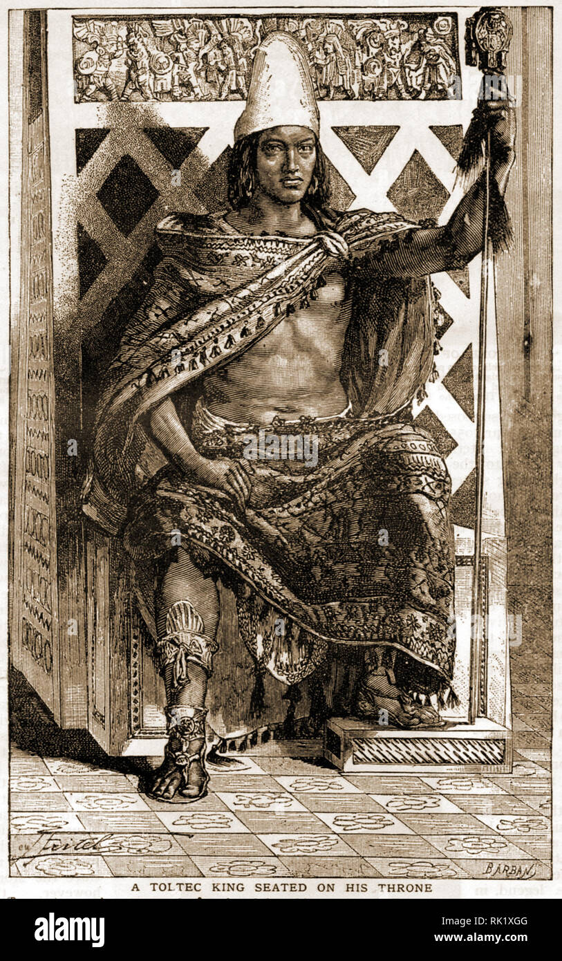 A 1909 French depiction of a South American Toltec King on his throne. The Toltecs were a Mesoamerican culture that dominated a the Tula, Hidalgo,regions of Mexico in the early post-classic period of Mesoamerican history,  c.900–1168, later classed by the Aztecs as an 'Artisan Race'. - Stock Image