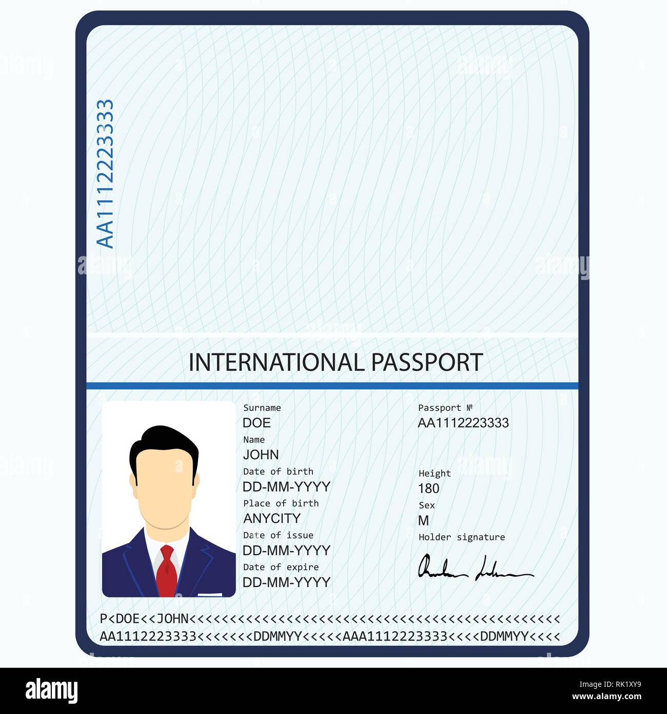 Vector illustration passport with biometric data