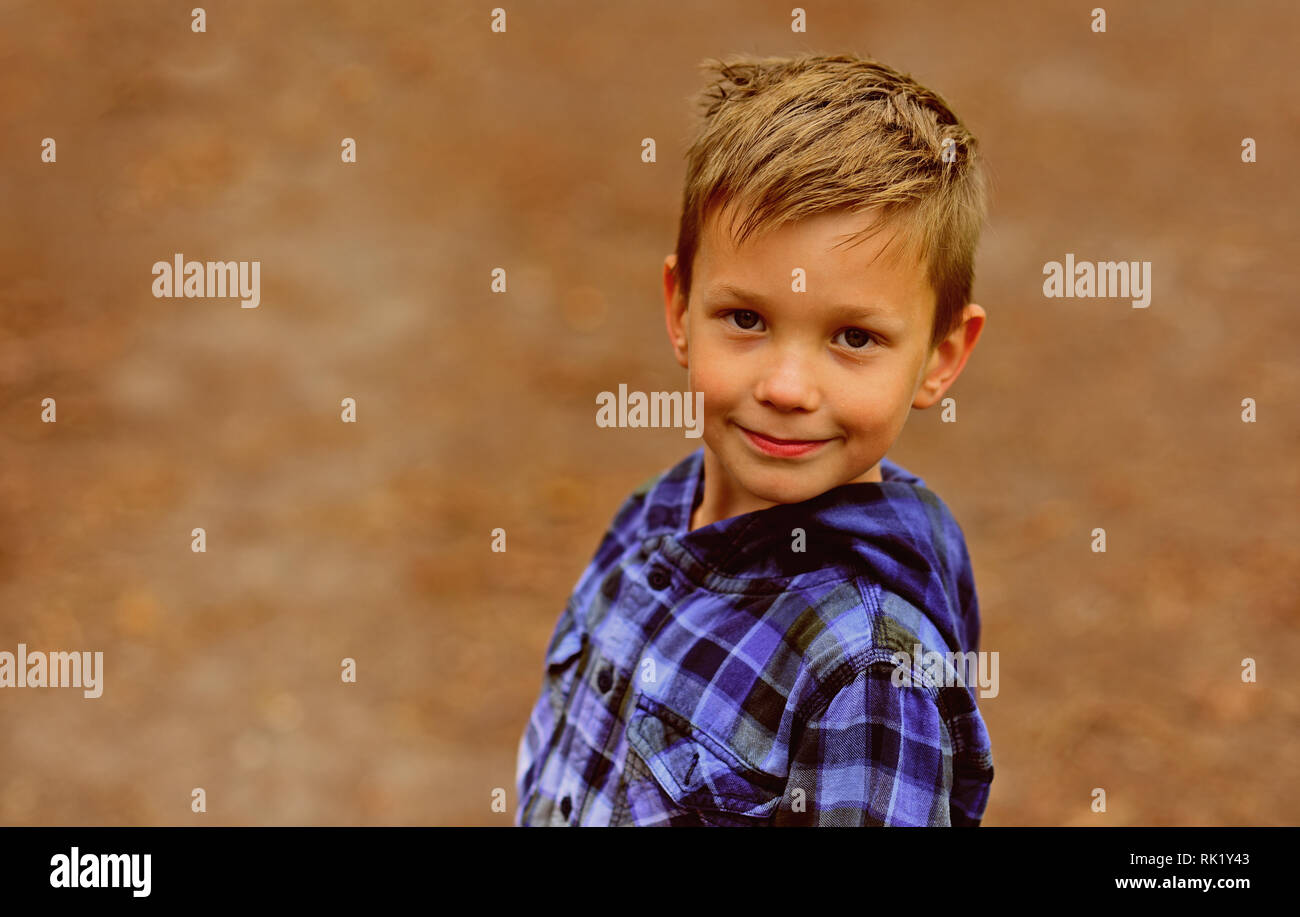 Focus on health. Healthy little boy. Little boy enjoy good health. More activity can greatly improve your health - Stock Image
