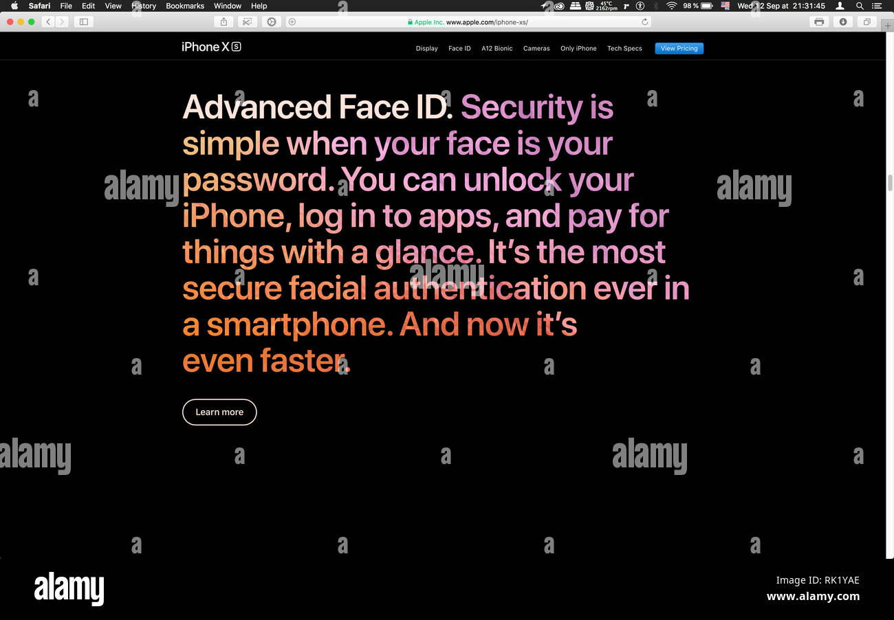London, United Kingdom - September 12, 2018: Advanced Face