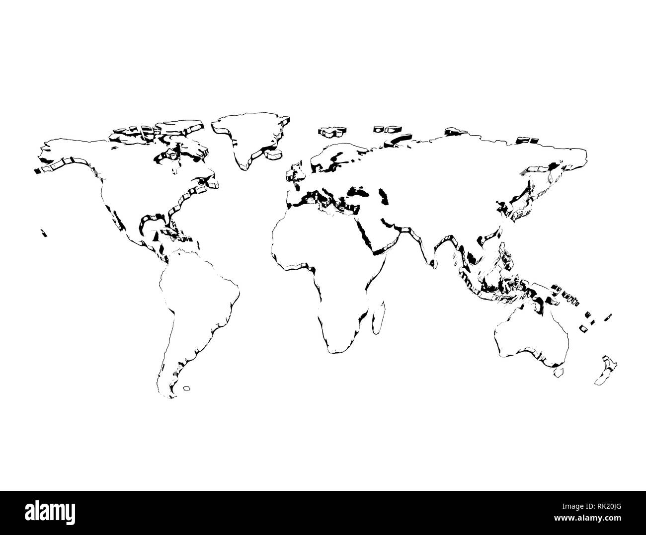 Pencil sketch world map 3d isolated on white background 3d illustration stock image