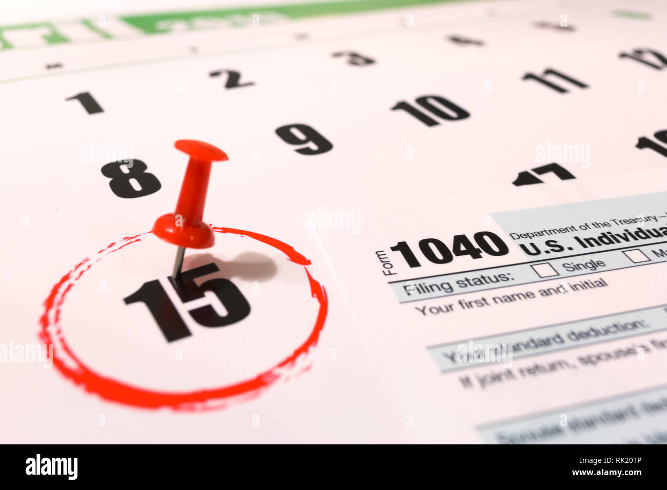 2019 calendar with 1040 income tax form for 2018 showing