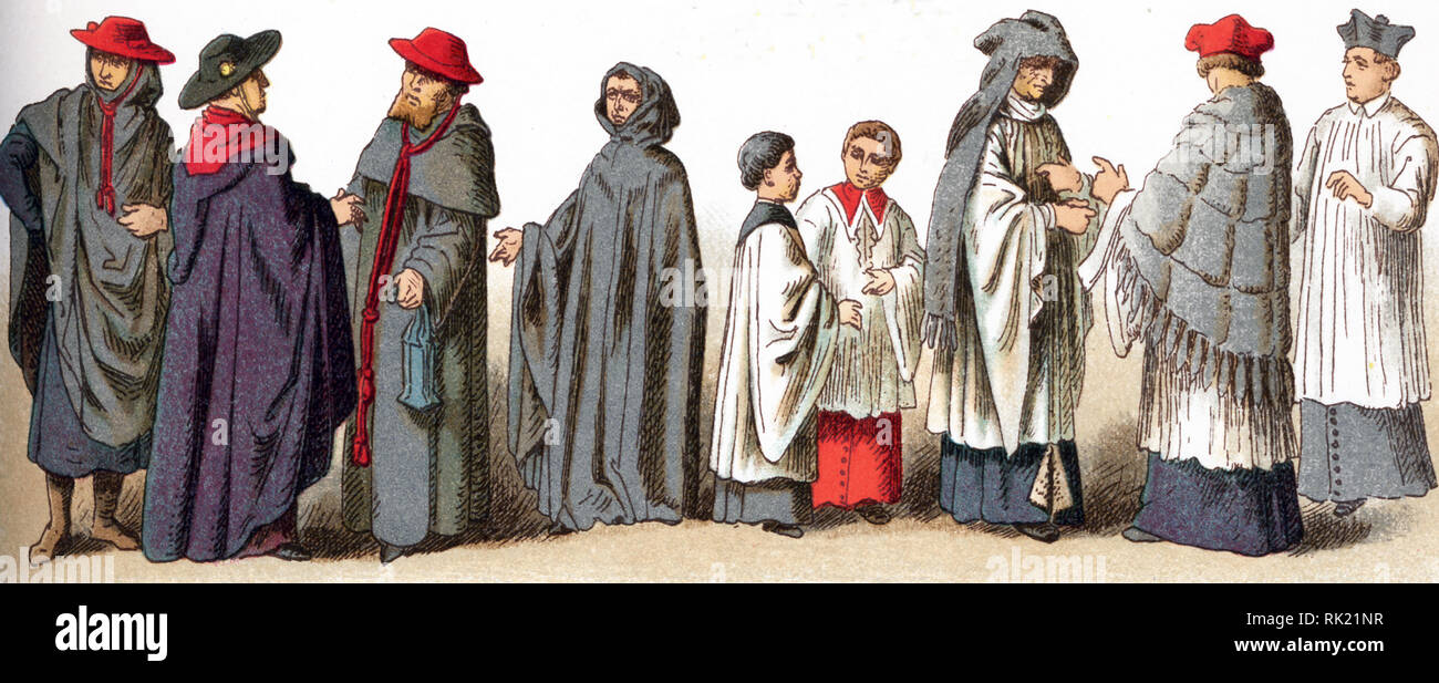 The illustrations shown here depict ecclesiastical costumes. They are, by row, from left to right, top to bottom: 1 through 4 Rational (used by German bishops 12th-14the centuries; 5 Pectoral (worn 12th and 13th centuries); 6 through 8 Amess (A flexible, conical, brimless head-dress, covering the entire head, except the face); 9 Bishop's hat; 10 through 12 Caps worn for ordinary use by bishops and cardinals); 13 Cap worn for funeral solemnities; 14 Ministrants or altar boys in the 15th century; 15 a Canon wearing a cope and amess in the 15th century; a Canon in the 17th century; a priest weari - Stock Image
