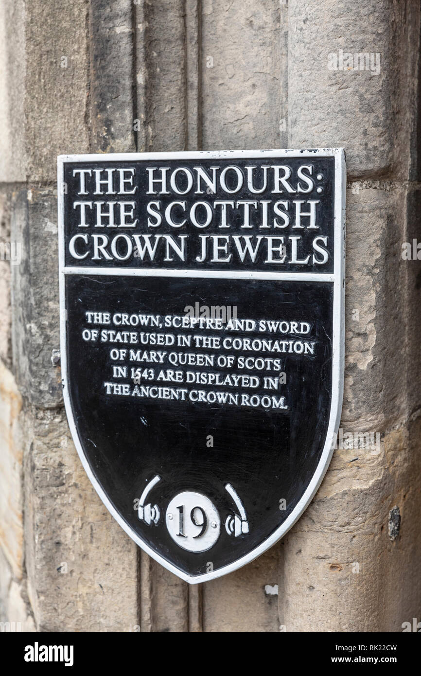 The Honours and the Scottish crown jewels at Edinburgh castle,Scotland,UK - Stock Image