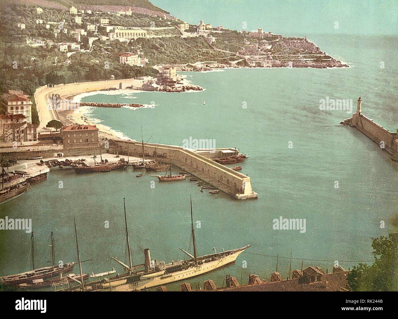 Nice Harbour, Nice, France. Between 1890 & 1910. - Stock Image