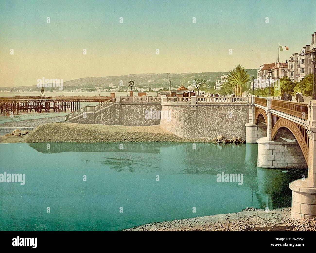Pont Napoléon, Nice, France. Between 1890 & 1910. - Stock Image