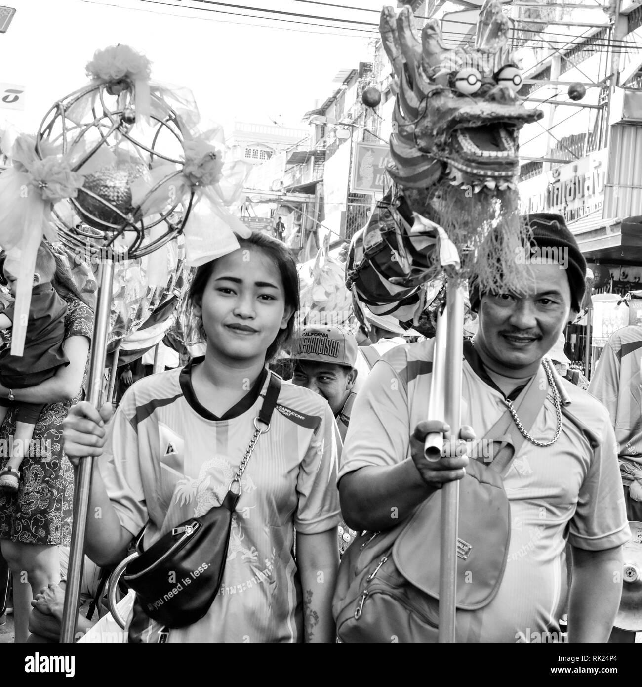 Celebration of Chinese New Year, Warorot Market, Chiang Mai, Thailand - Stock Image
