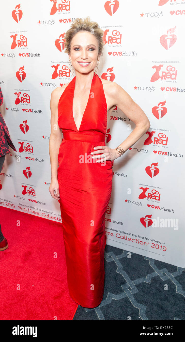 New York, NY - February 7, 2019: Amy Robach wearing dress by Alexia Maria attends The American Heart Association's Go Red for Women Red Dress Collection 2019 at Hammerstein Ballroom Stock Photo