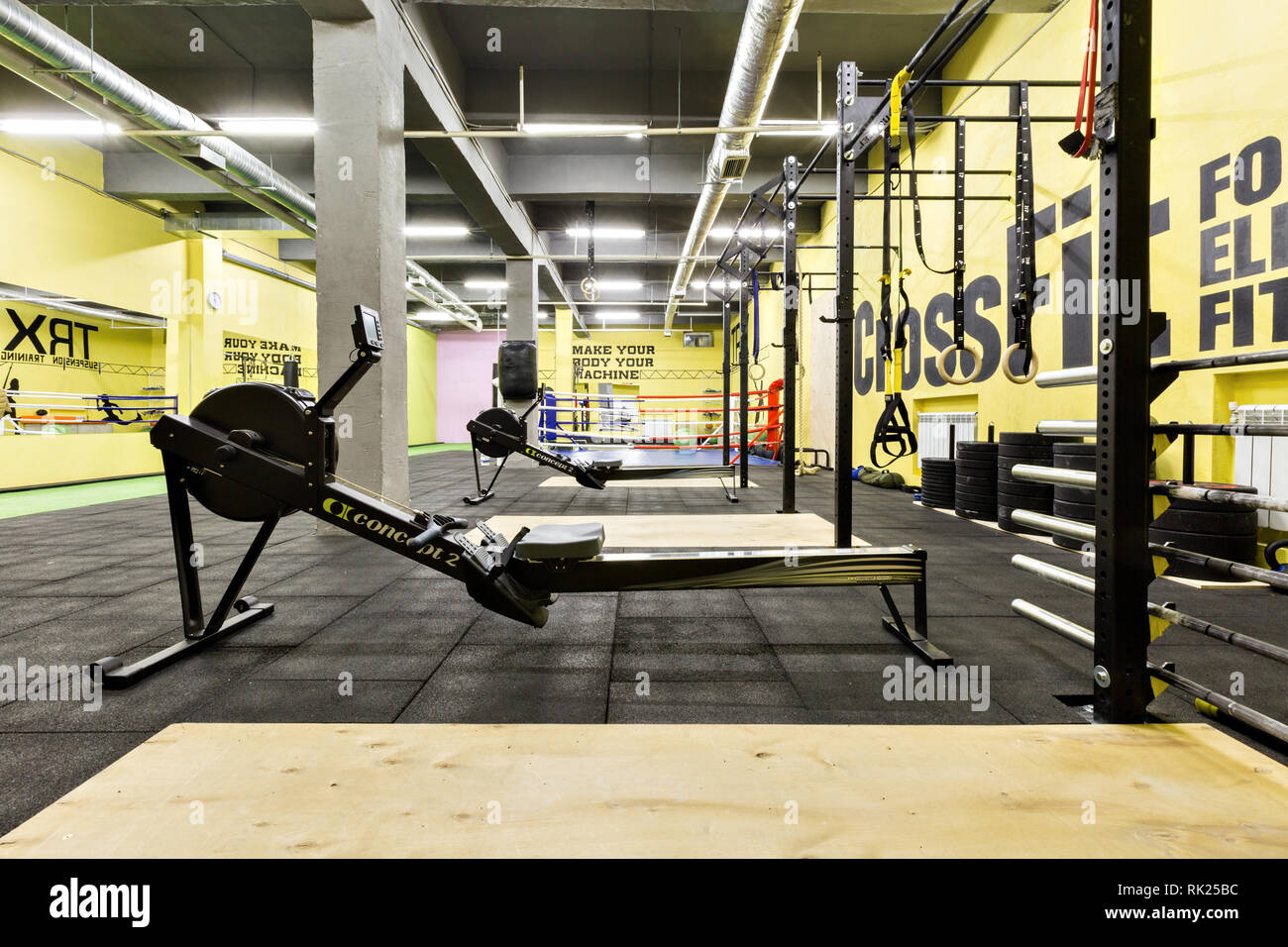 Russia, Nizhny Novgorod - January 30, 2017: Interior of the gym for fitness workout. Cross fit training. Barbells kettlebells bars and weightlifting - Stock Image