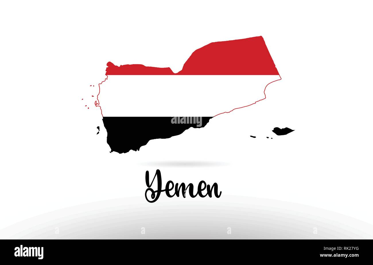 Yemen country flag inside country border map design suitable for a logo icon design - Stock Vector