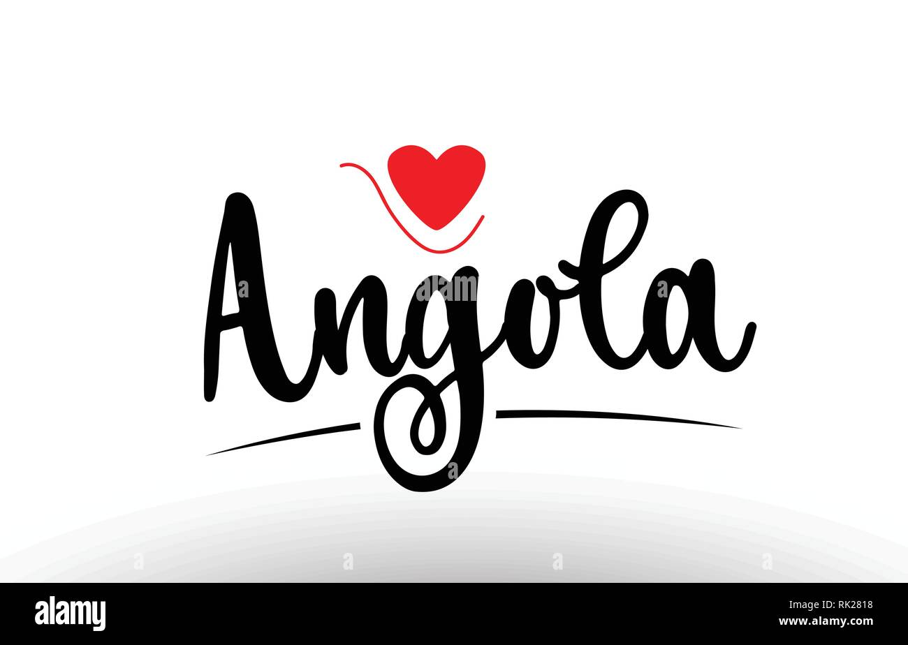 Angola country text with red love heart suitable for a logo icon or typography design - Stock Vector