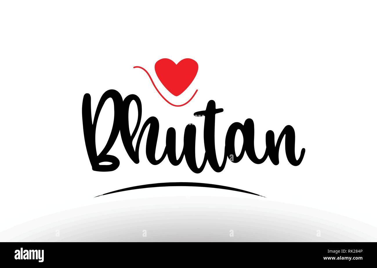 Bhutan country text with red love heart suitable for a logo icon or typography design - Stock Vector