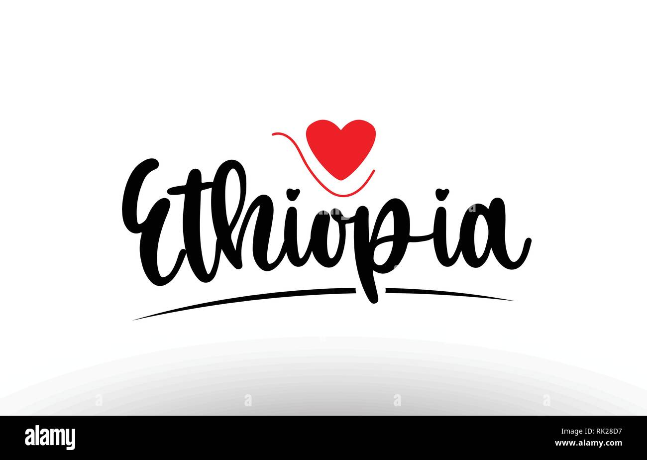 Ethiopia country text with red love heart suitable for a logo icon or typography design - Stock Vector