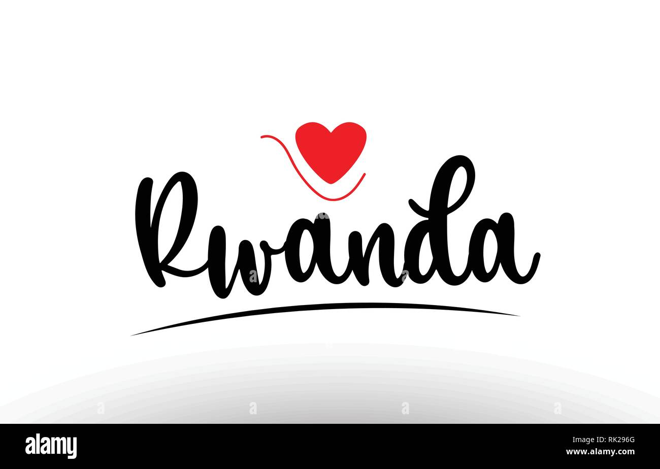 Rwanda country text with red love heart suitable for a logo icon or typography design - Stock Vector