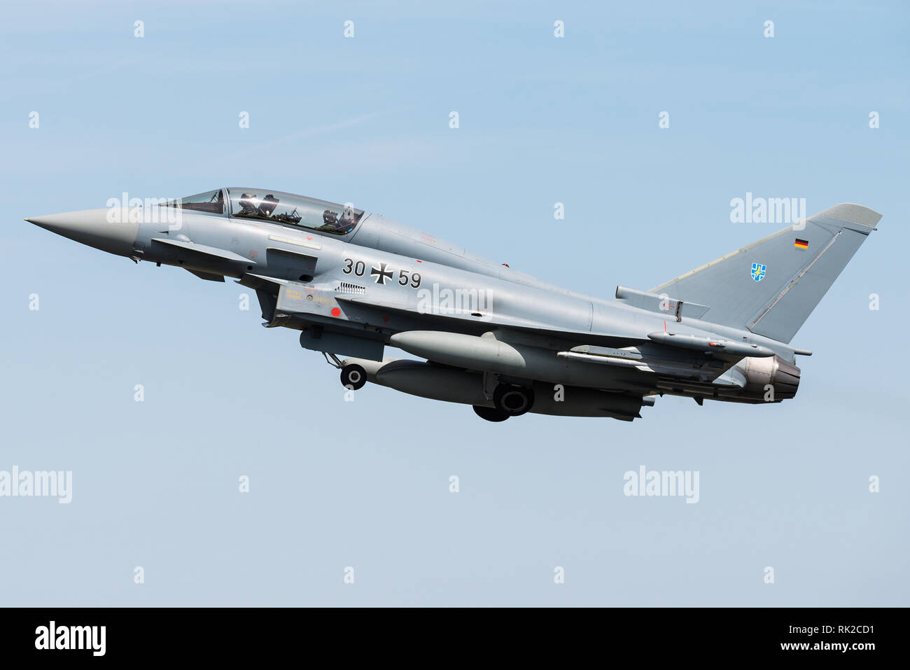 A Eurofighter Typhoon multirole fighter jet of the German Air Force. Stock Photo