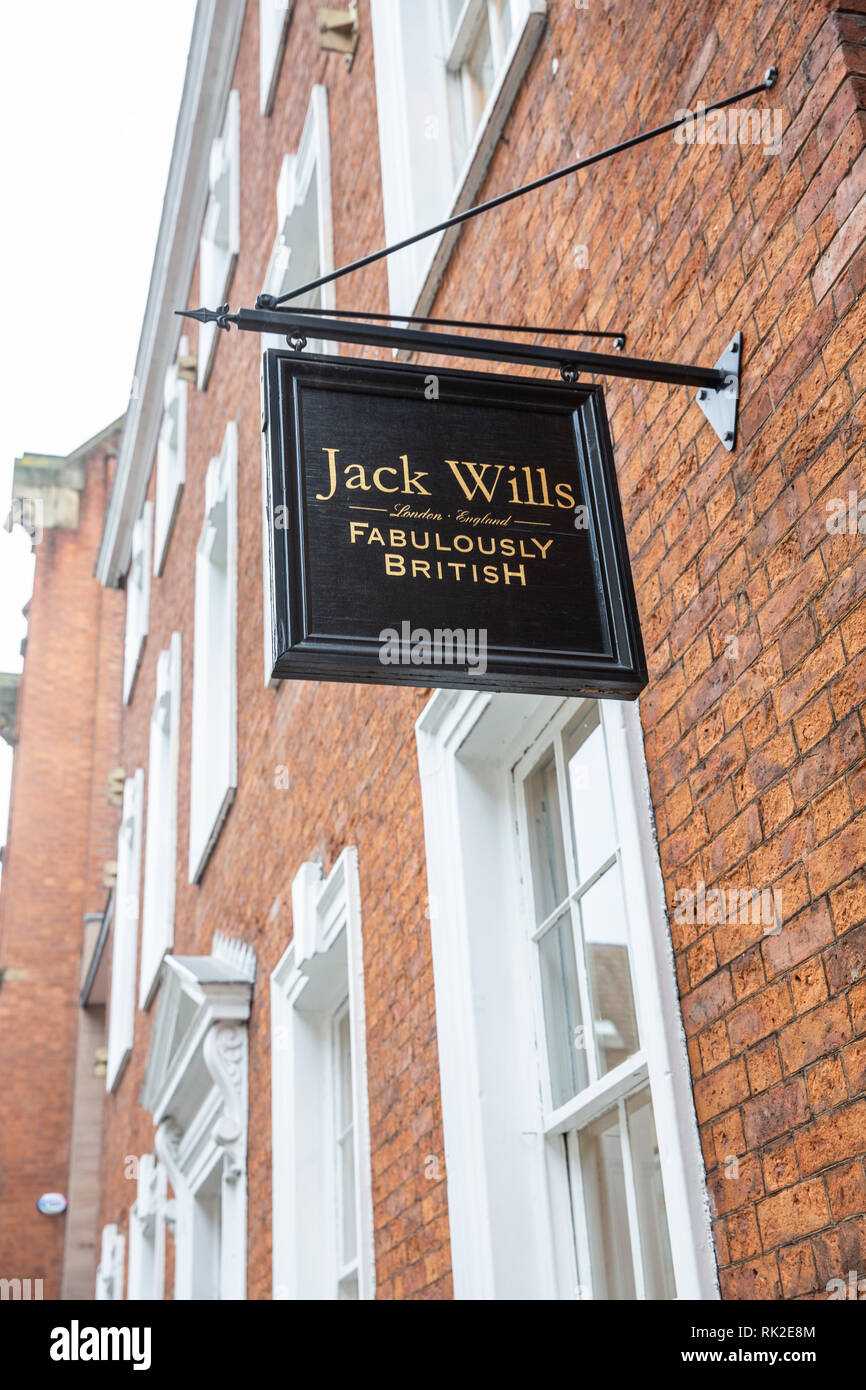 Jack Wills fabulously british clothing store and exterior sign in Manchester city centre,England,UK - Stock Image