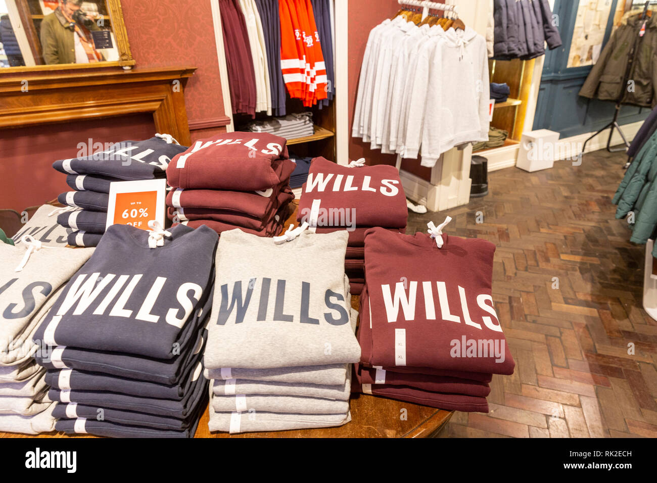 Interior of a Jack Wills clothing store in Manchester city centre,England - Stock Image