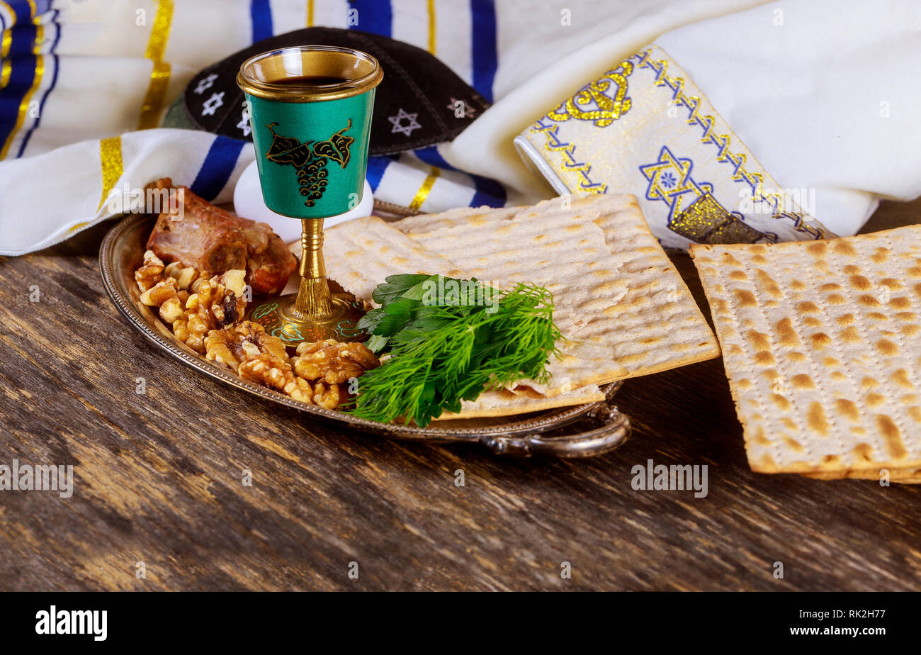 Vintage seder plate for jewish holiday Passover. View from above - Stock Image