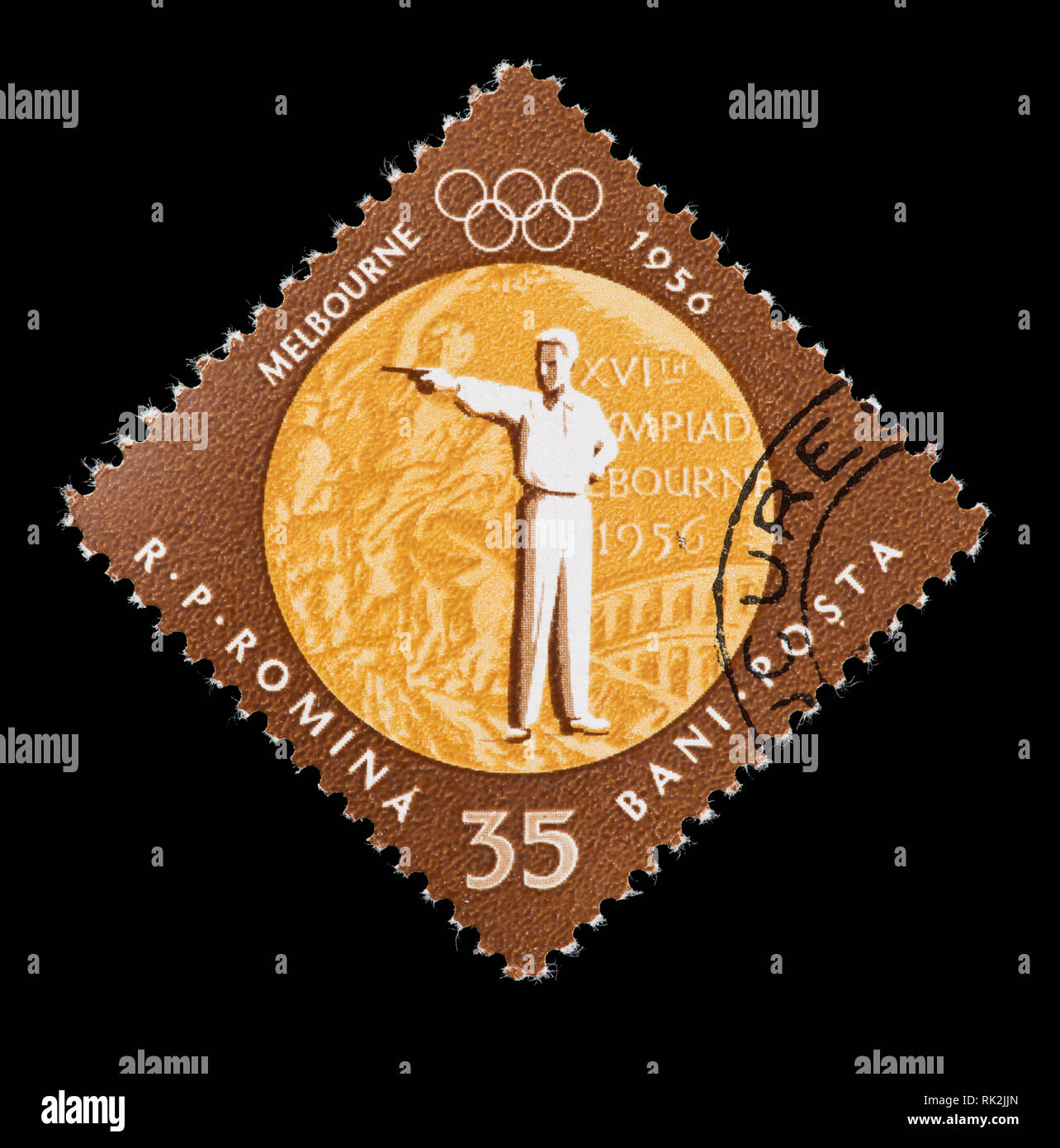Postage stamp from Romania depicting pistol shooting, issued for gold medal in this event in the 1956 Summer Olympic Games in Australia. - Stock Image