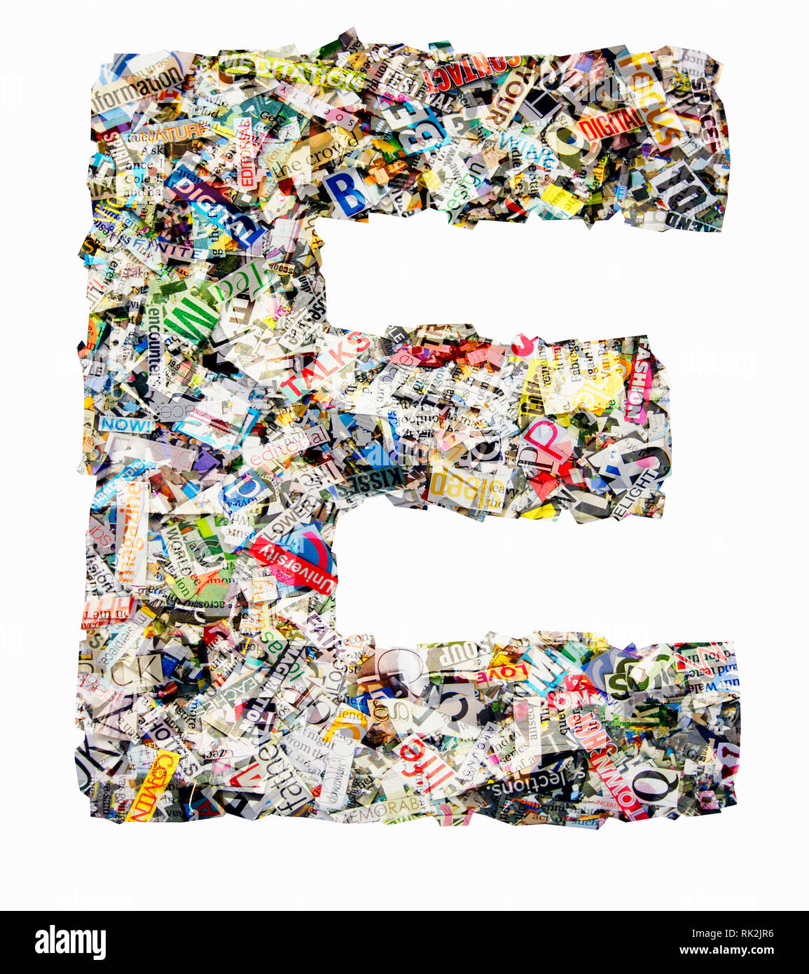 The letter E made from newspaper confetti Stock Photo
