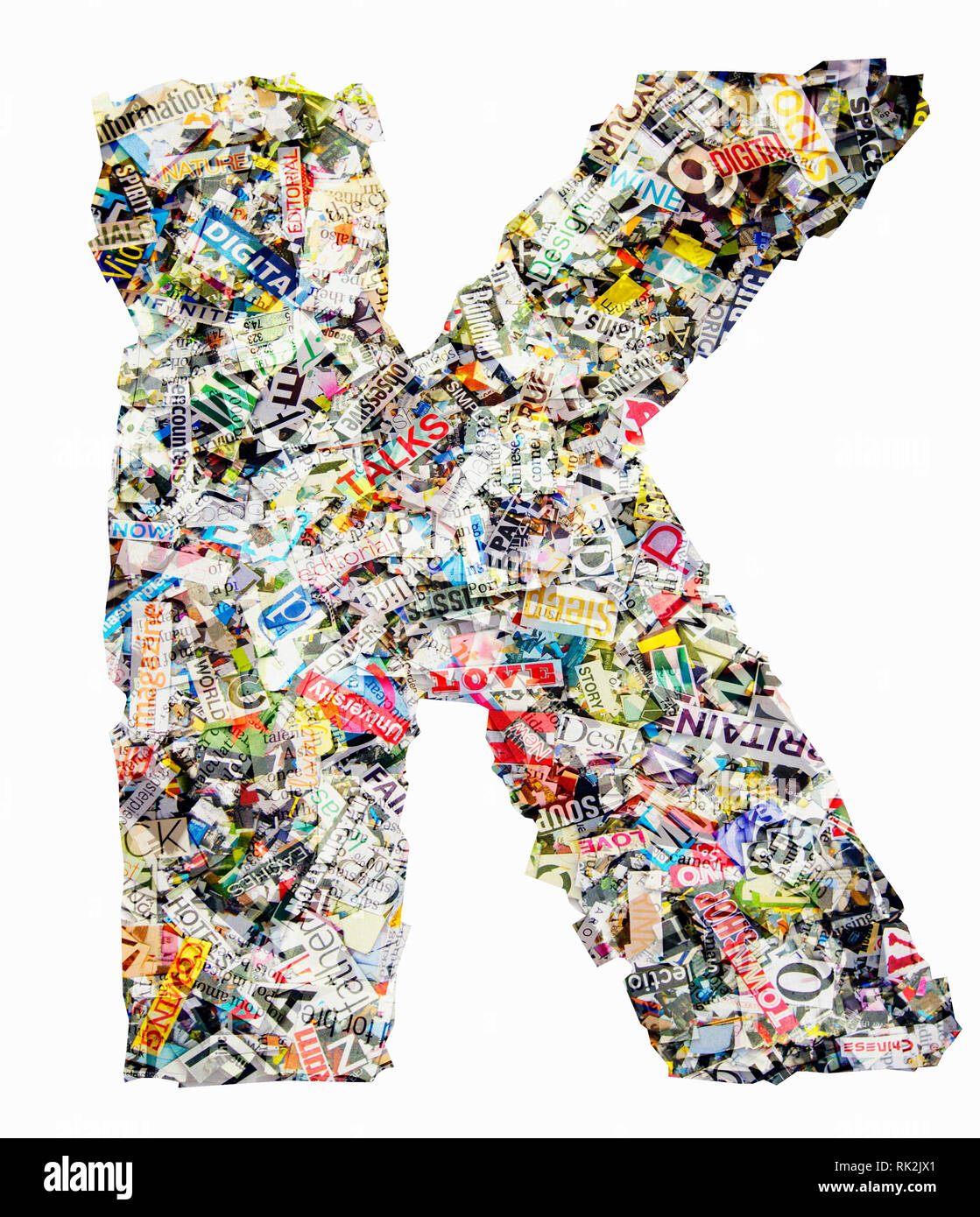 The letter K made from newspaper confetti Stock Photo: 235471993 - Alamy