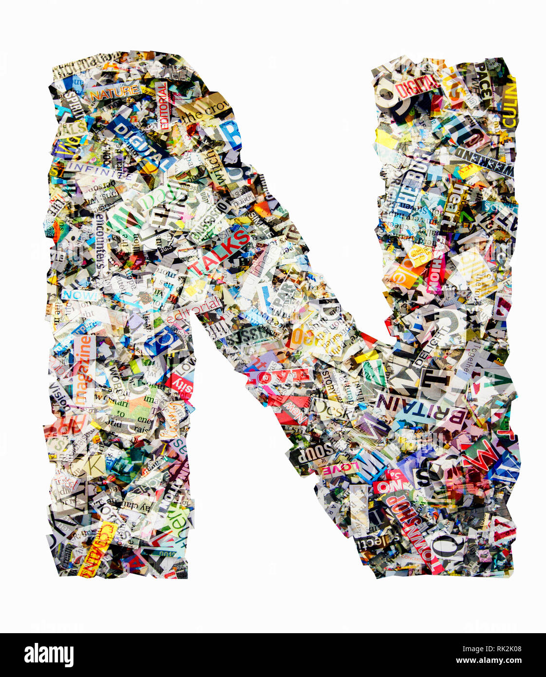 The letter N made from newspaper confetti Stock Photo