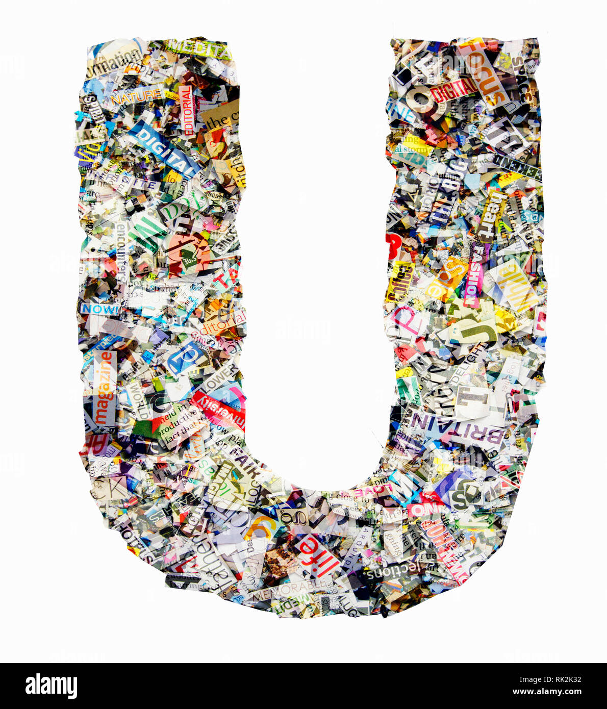 The letter U made from newspaper confetti Stock Photo: 235472134 - Alamy