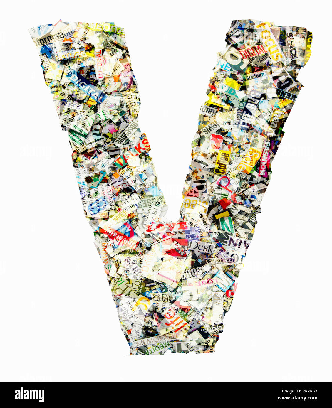 The letter V made from newspaper confetti Stock Photo: 235472135 - Alamy