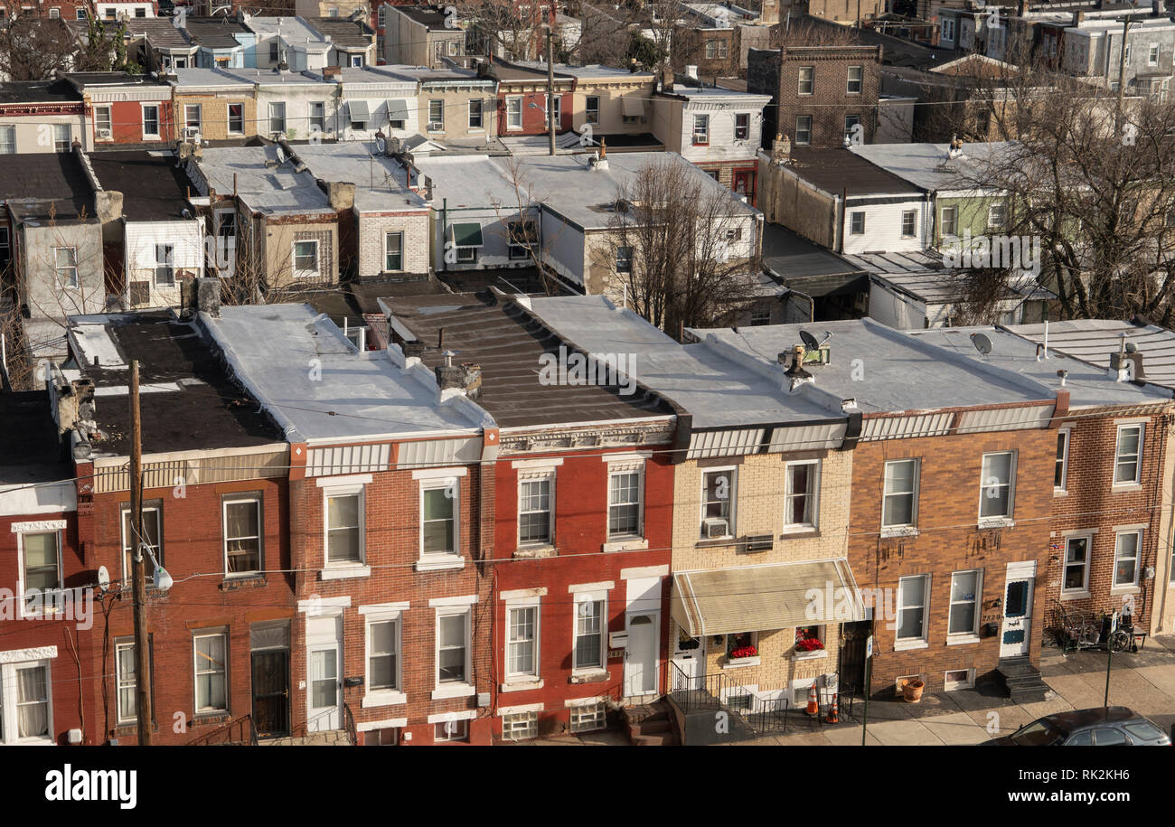 row homes in Kensington Philadelphia - Stock Image