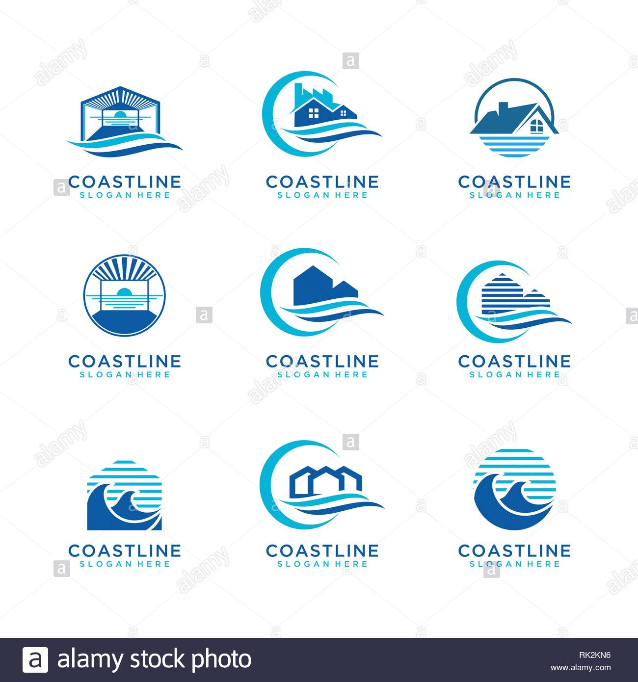 Collection of Coastline logo design variation - Stock Vector