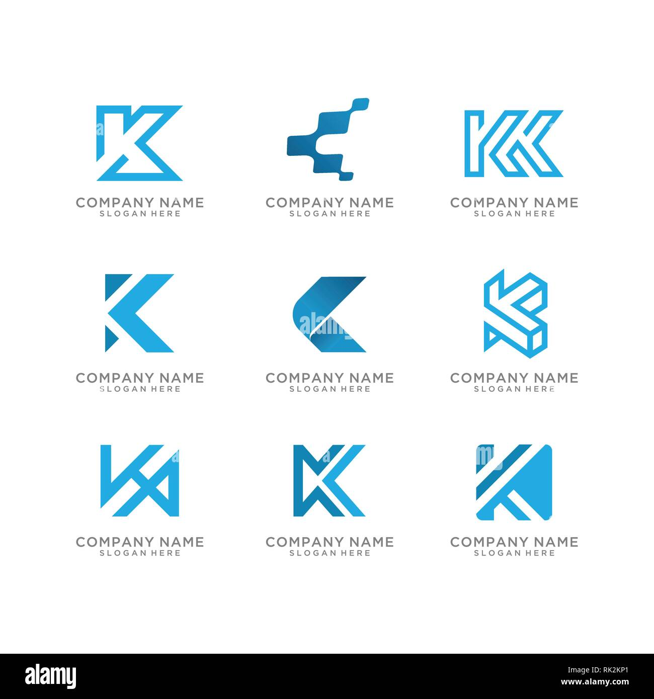 Collection of letter K logo design - Stock Image