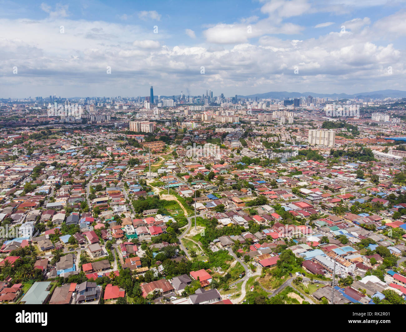 Panorama of all of Kuala Lumpur from the far outskirts of the city. Malaysia. Drone aerial footage. - Stock Image