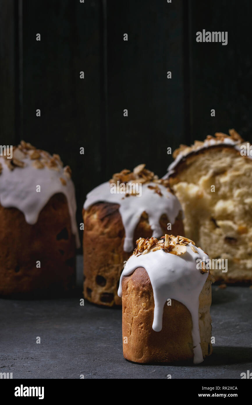 Set Of Traditional Russian And Ukrainian Easter Cake Kulich Paska
