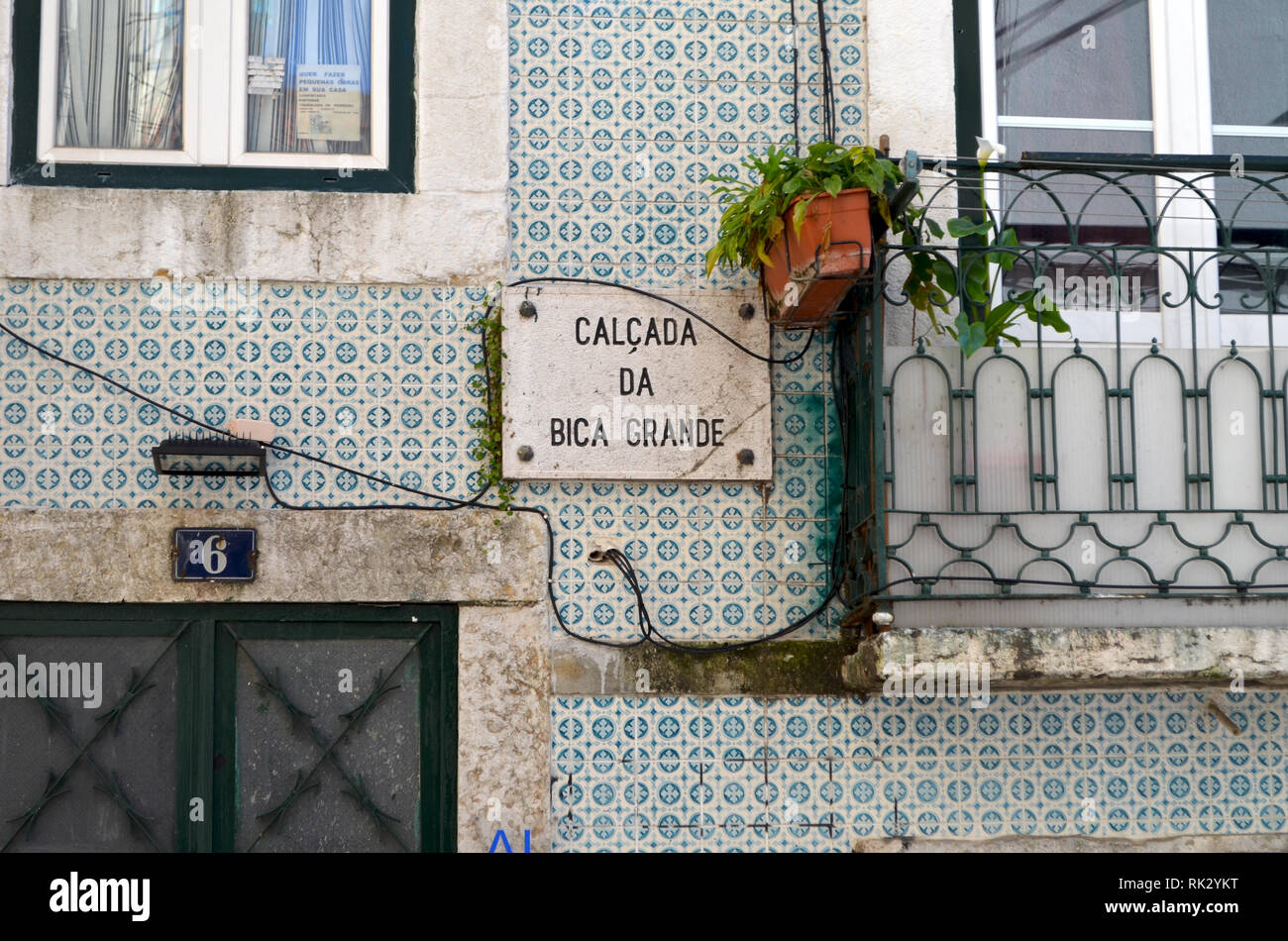 Lisbon's Bica neighbourhood, a traditional area now threatened by gentrification, real estate speculation and tourism boom - Stock Image