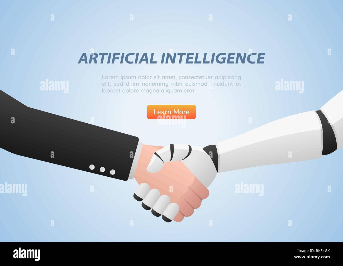 Businessman and robot shaking hands. Artificial intelligence and teamwork concept. Stock Vector