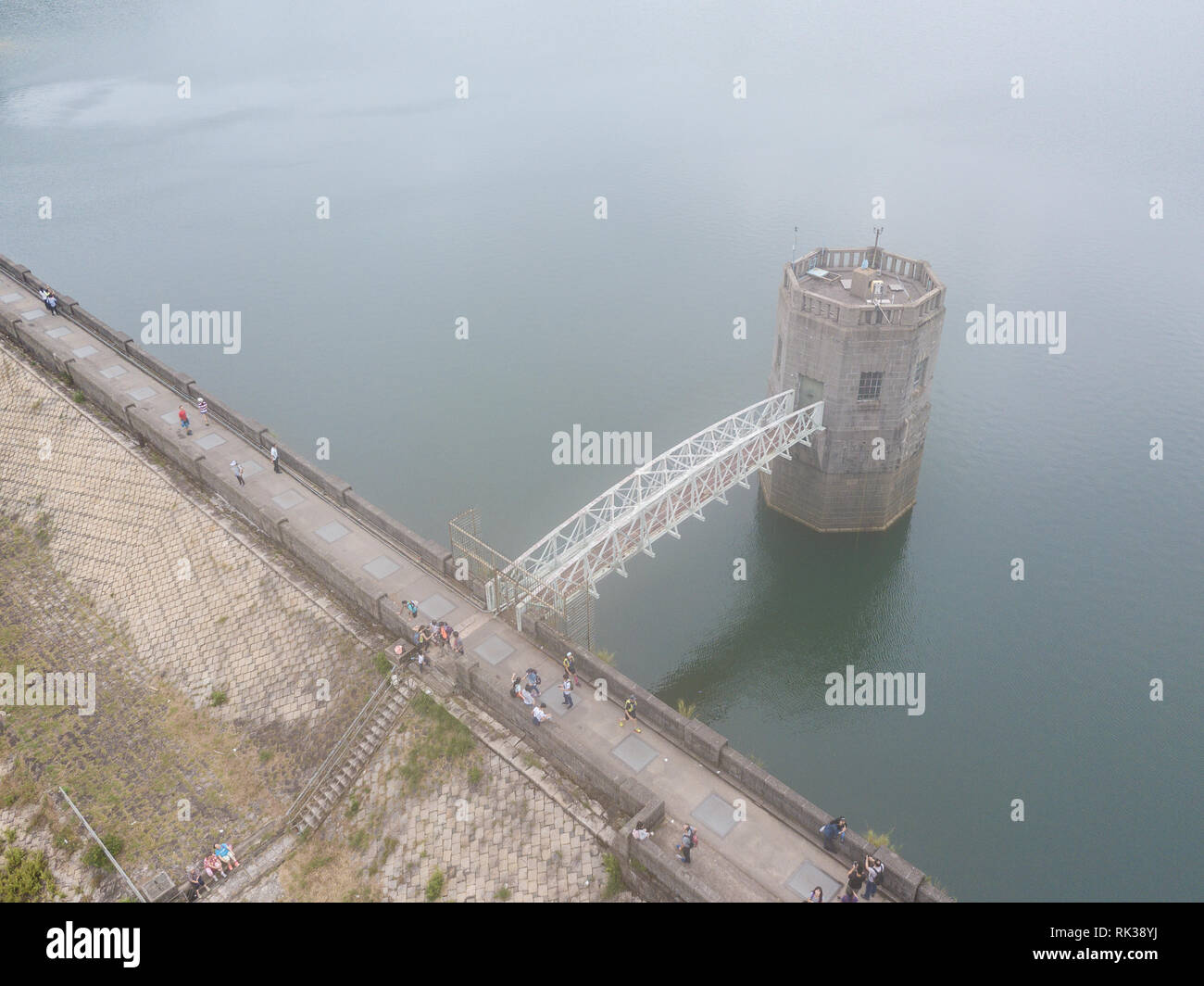 A drone view of the Shing Mun Reservoir in Hong Kong - Stock Image